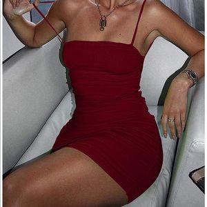 ✨ Sexy bodycon Spaghetti Strap Ruched Dress